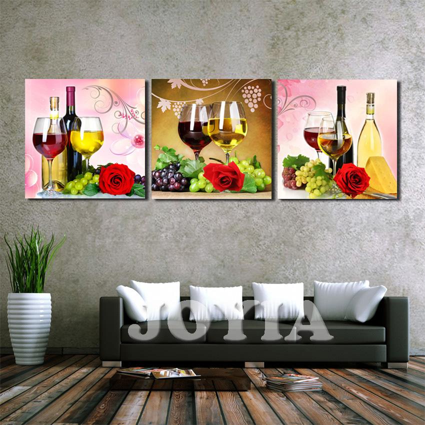 decoracin del hogar pintura de la lona impresiones de arte panel de uva de vino rosa taza de pared cuadros para la decoracin