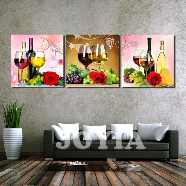 Aliexpress.com : Home Decor Drucke 3 Panel Trauben Wein tasse ...