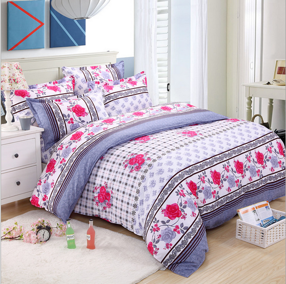 Simple and elegant bedding sheet 4pcs/set 100%cotton Queen size comfortable printing christmas beding sets,fabric is very soft