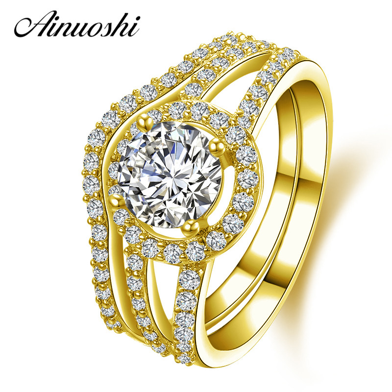 все цены на AINUOSHI 10K Solid Yellow Gold Wedding Ring Sets Round Cut Halo 1 ct Sona Simulated Diamond Jewelry Women Engagement Rings Set онлайн