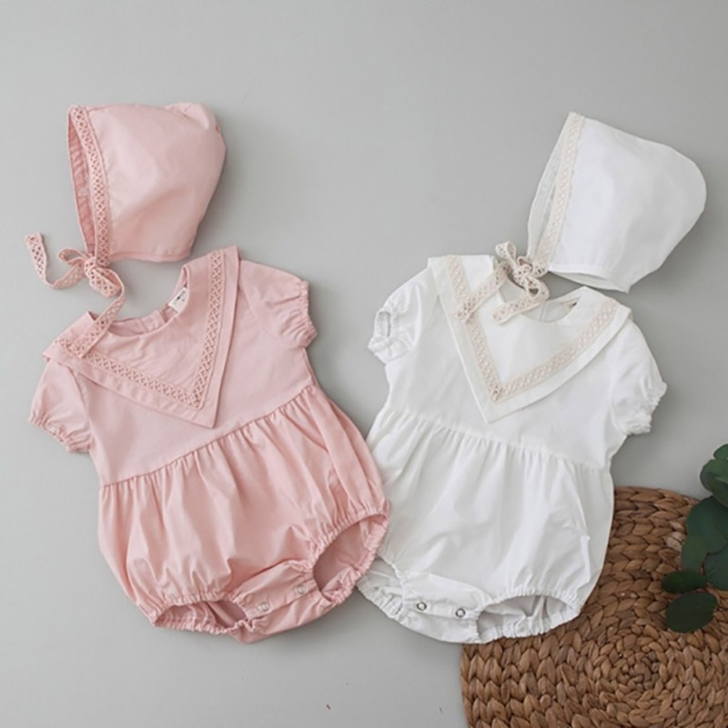 Lovely Infant Summer Round Collar Short Sleeve Solid Color Girls Jumpsuit Climb Hat 2pcs Set 0 3Y Cute Newborn Baby Clothes in Bodysuits from Mother Kids