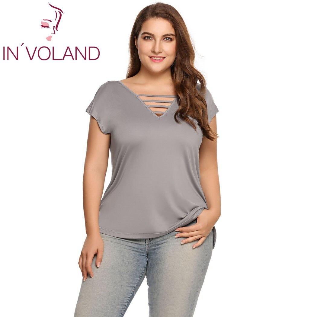 IN'VOLAND Femmes T-Shirts Plus Tailles D'été Automne Casual Col en v Dentelle Up À Manches Courtes Solide T-shirts Feminino Tee Tops 4XL