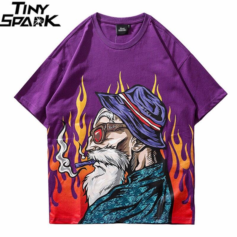 Verão 2019 Camiseta Streetwear Harajuku Japonês Velho T-Shirt Hip Hop Estilo Japão Tshirt Dos Desenhos Animados HipHop Tops Tees de Algodão