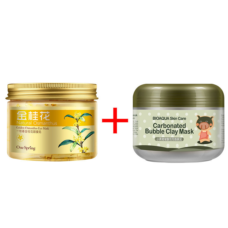 2PCS Gold Osmanthus Eye Mask Women Collagen Gel Whey Protein + Kawaii Black Pig Carbonated Bubble Clay Face Mask Skin Care