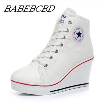 Star Women Shoes Platform 2019 Hidden Wedge Boots Shoes For Women High Heel Top Canvas Shoes Casual Shoes Ladies All Size 35-43 sorbern white platform shoes knee high boots for women wedge high heel ladies shoes booties womens shoes custom colors big size