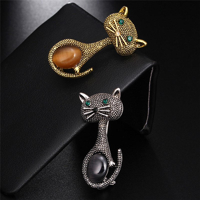 Gold-Color Vintage Opal Cat Eye Brooch European Collar Clips Pins Cute Animal Broches Wedding Party Bijoux For Women
