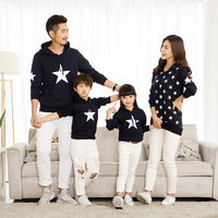 New Matching Family Clothing Star Printed Long Sleeve Hoodie Shirts Couples Sweater With Velvet T Shirt