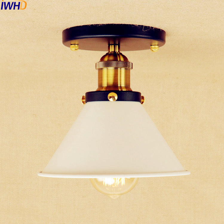 White Sahde LED ceiling Lights For Living Room Bedroom Edison Lighting Vintage Ceiling Lamp Industrial Plafond LED Luminaria