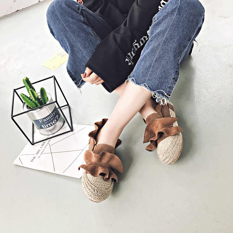 Korean brand flat fisherman shoes women ruffles flock slip on shoes round toe knitting lazy shoes linen knitted espadrilles lady