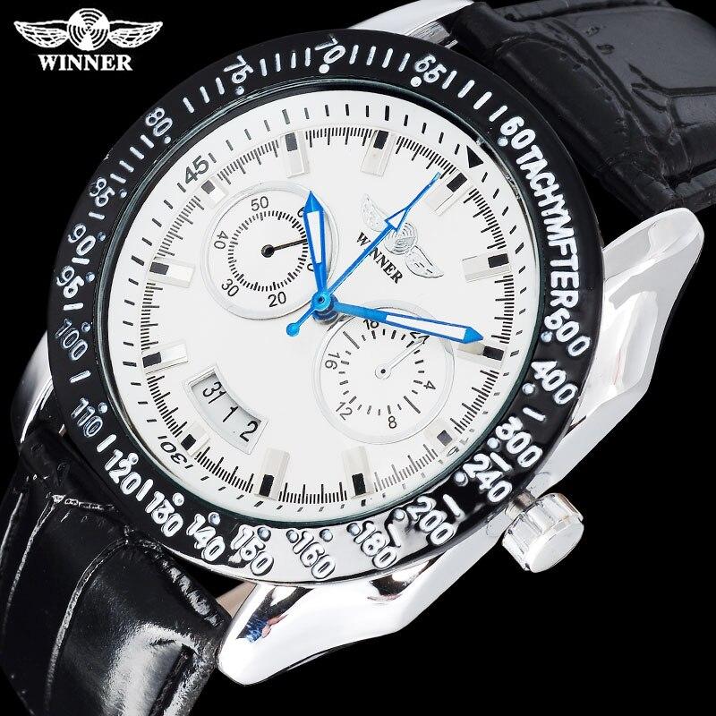 2019 Neuestes Design Winner Fashion Marke Männer Sport Mechanische Uhren Lederarmband Männer Automatische Skeleton Uhren Silber Fall Relogio Masculino Schnelle WäRmeableitung