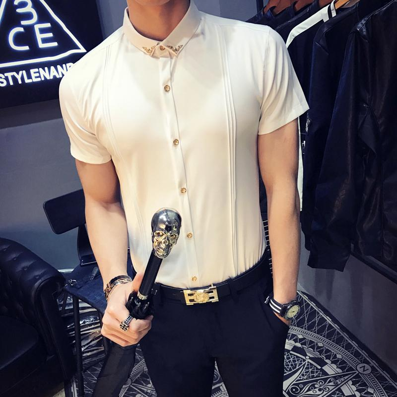 LOLDEAL Summer Double Stripe Dress Shirts Short Sleeve Shirt Korean Fashion Slim Fit Casual White Wine Red