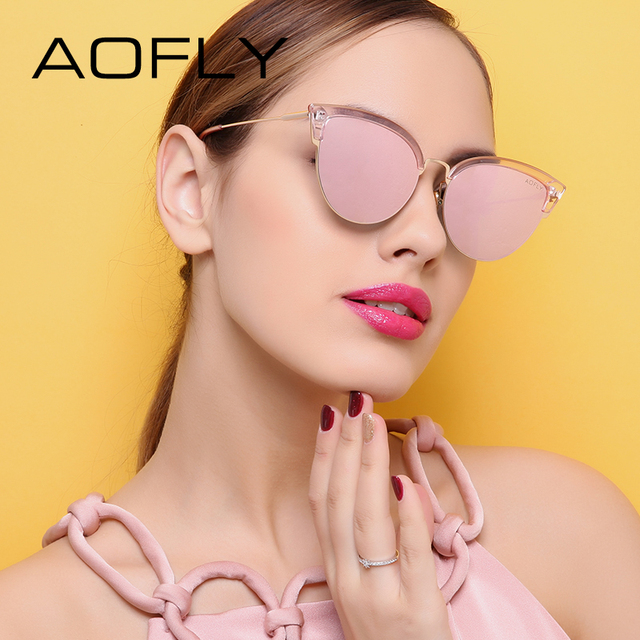 AOFLY Cat Eye Women Sunglasses Original Brand Design Reflective Coating Mirror Sunglasses Vintage  Sun Glasses With Case AF7965