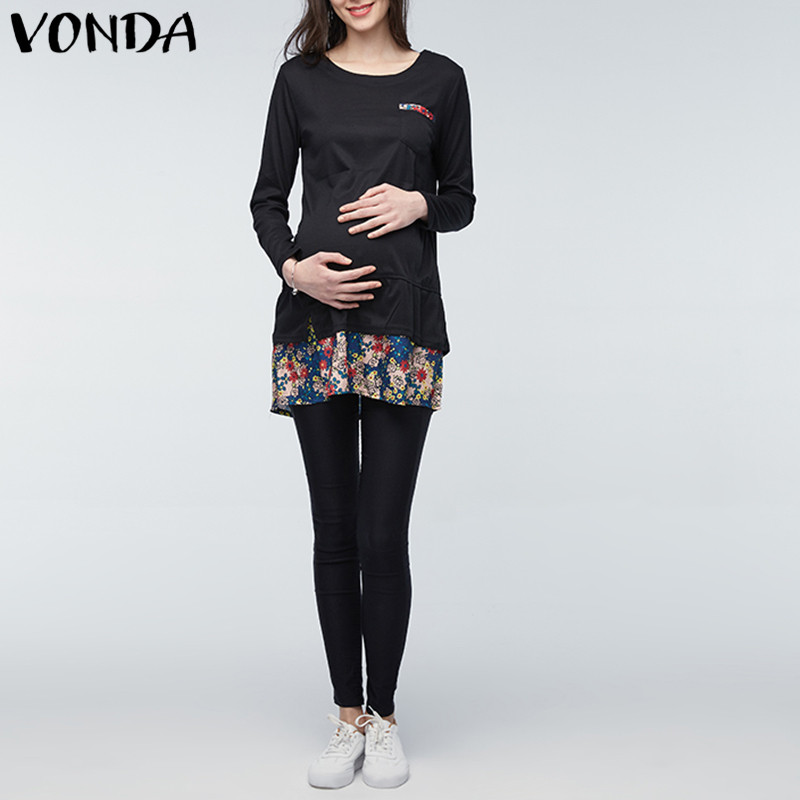 VONDA Maternity Clothings 2018 Summer Patchwork Print Dress Pregnant Women Long Sleeve Casual Loose Pregnancy Vestidos Plus Size