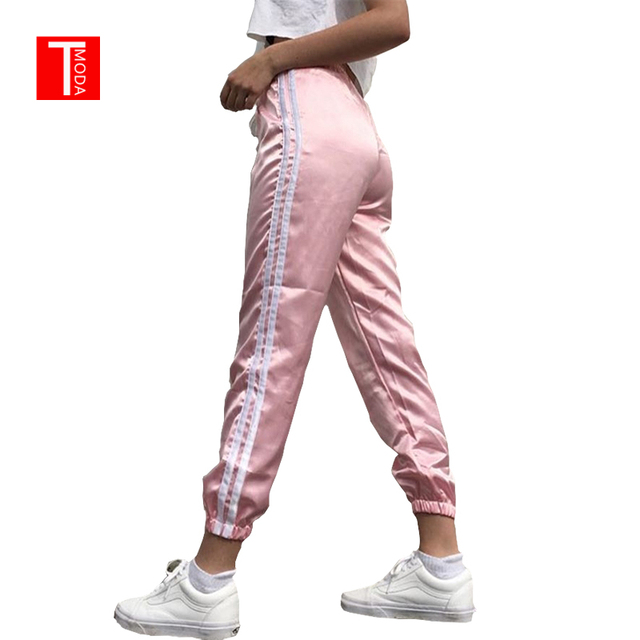 T MODA 2017 Spring Summer Women Satin Casual Pink Retro White Stitching Closed Comfy Wweatpants Leisure Trousers Pants Capris