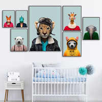 Fashion Dog Bear Elephant Leopard Monkey Wall Art Canvas Painting Posters And Print Animal Wall Pictures For Living Room Decor