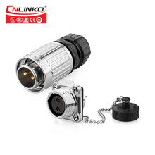 Cnlinko M20 Din Quick Connect Wiring Male and Female Socket IP67 2 Pin Waterproof Adapter for Outdoor Electrical Audio Medical