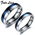 Jewellery Finger Rings white blue CZ diamonds titanium steel  Couple Ring gj192 one pair price