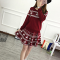 2017 Women Deer Pattern Skirt Suits Christmas Stylish New Clothing Knitted Pullover Sweater With Skinny Skirt Fashion Suits 1212