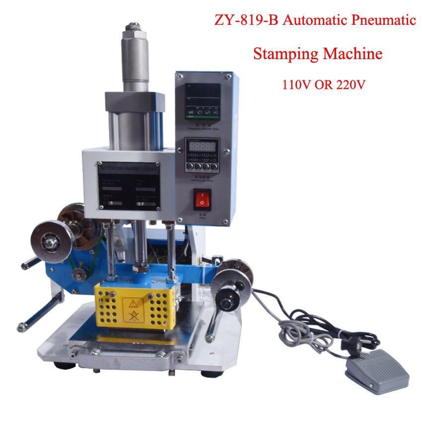 ZY-819-B Automática Pneumática Máquina de Carimbar LOGOTIPO de couro Vincando máquina, de Alta velocidade máquina de Gravação do cartão de nome