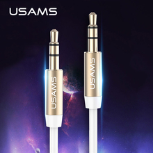 USAMS 3.5 мм Aux Кабель Для iPhone Аудио Кабель Kabel Мужчин мужчинами 1 м Позолоченные Разъем Автомобиля Aux Кабель Для Samsung наушники