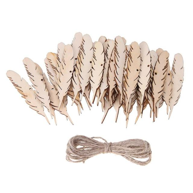 Aliexpress buy 50pcs wooden feather shape chips with ropes 50pcs wooden feather shape chips with ropes diy craft hanging decoration for wall wedding party room junglespirit Choice Image
