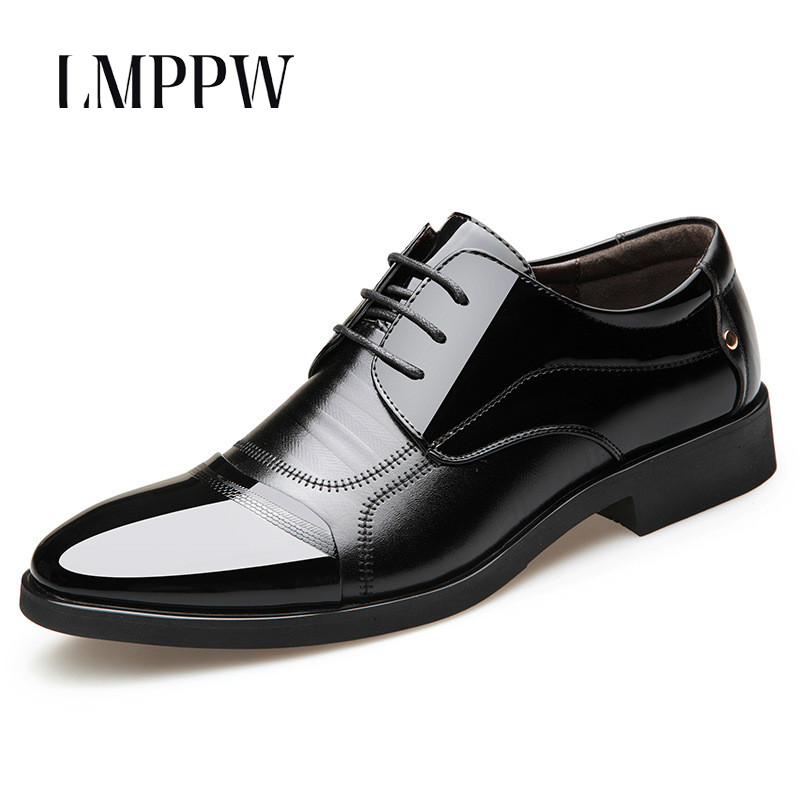 New 2019 Formal Dress Men Shoes Business Office Leather Shoes Black Brown Men's Wedding Shoes Breathable Casual Men Oxford Shoes