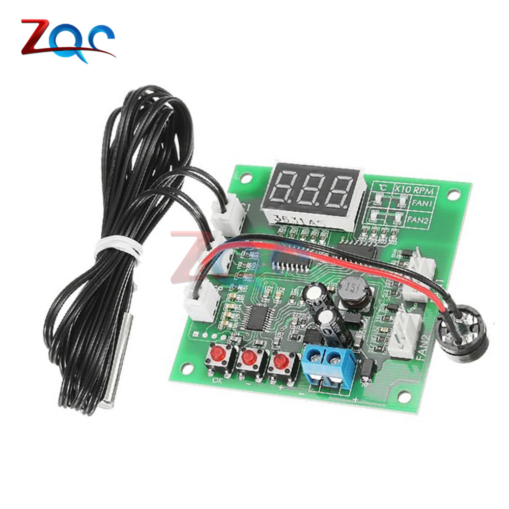 Two Way Four Wire Heat Dissipation PWM Fan Temperature Speed Controller Board