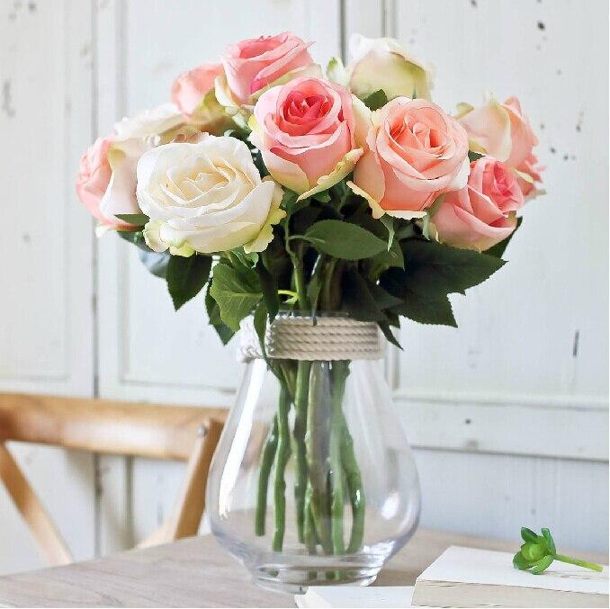 DIY como foto rosas sin jarrn de flores de seda flores artificiales