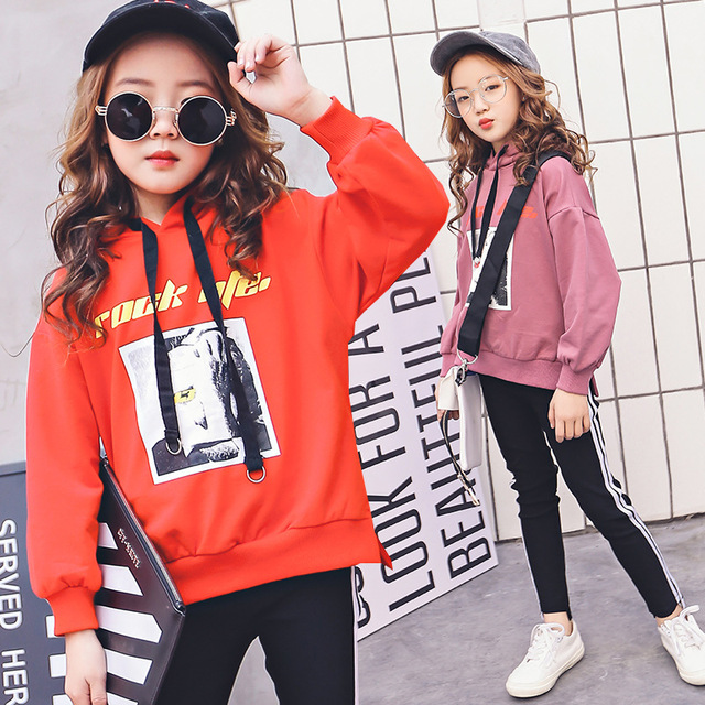 2cfd7d5715c Fashion Children Clothing Set Girls Tracksuits 2018 Long Sleeve Hoodies  Black Sport Pants Toddler Girl Teen