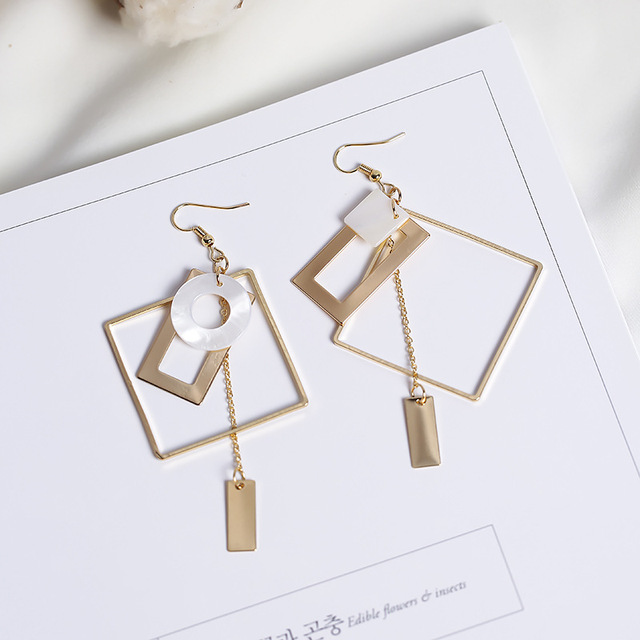 2017 Personality Handmade Earrings For Women Asymmetric Alloy Square Rectangle R