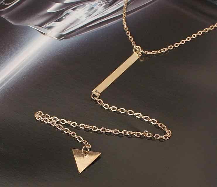 Handel zagraniczny popularna osobowość prosty metalowy pasek trójkątne słowo frędzle Chokers kobiety krótki naszyjnik biżuteria hurtowych
