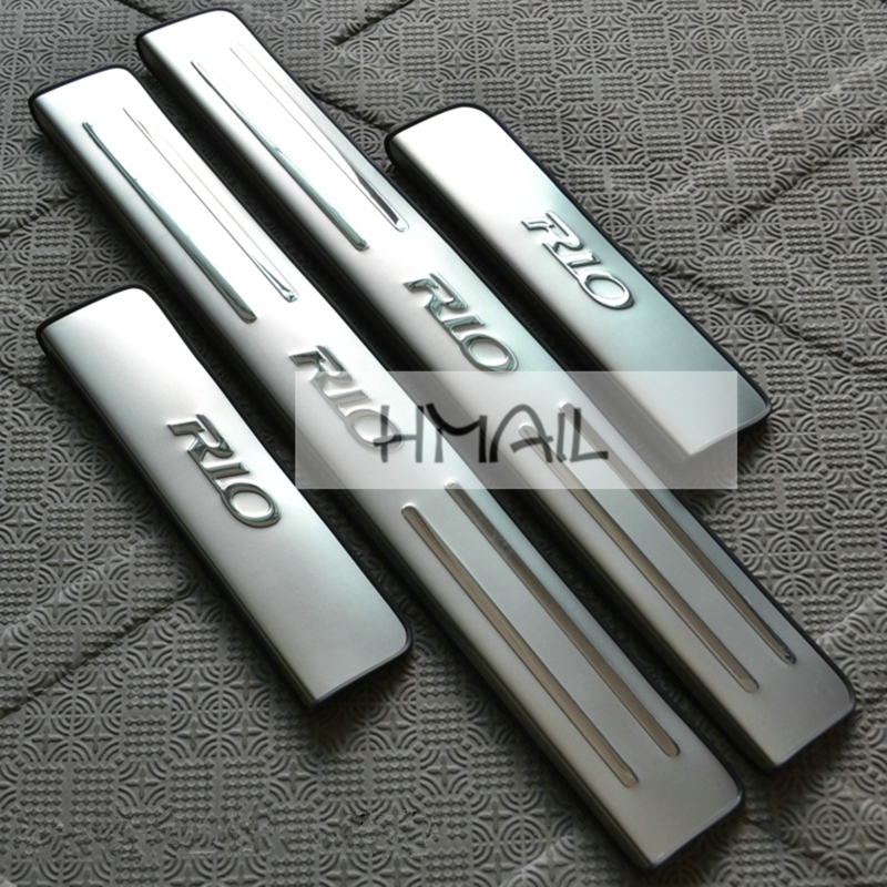 stainless steel door sill strip for KIA RIO Exterior car-styling welcome pedal Scuff Plate cover Threshold Trim car body sticker for mitsubishi pajero 2013 stainless steel internal door sill strip welcome pedal auto car styling stickers accessories 4 pcs