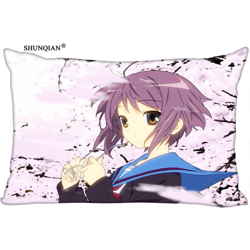 Melancholy of Haruhi Suzumiya Printed Rectangular Silk Pillowcase Two Sides Custom image 35x45cm 30x60cm 40x60cm 45x75cm 50x75cm|Pillow Case| |  - title=