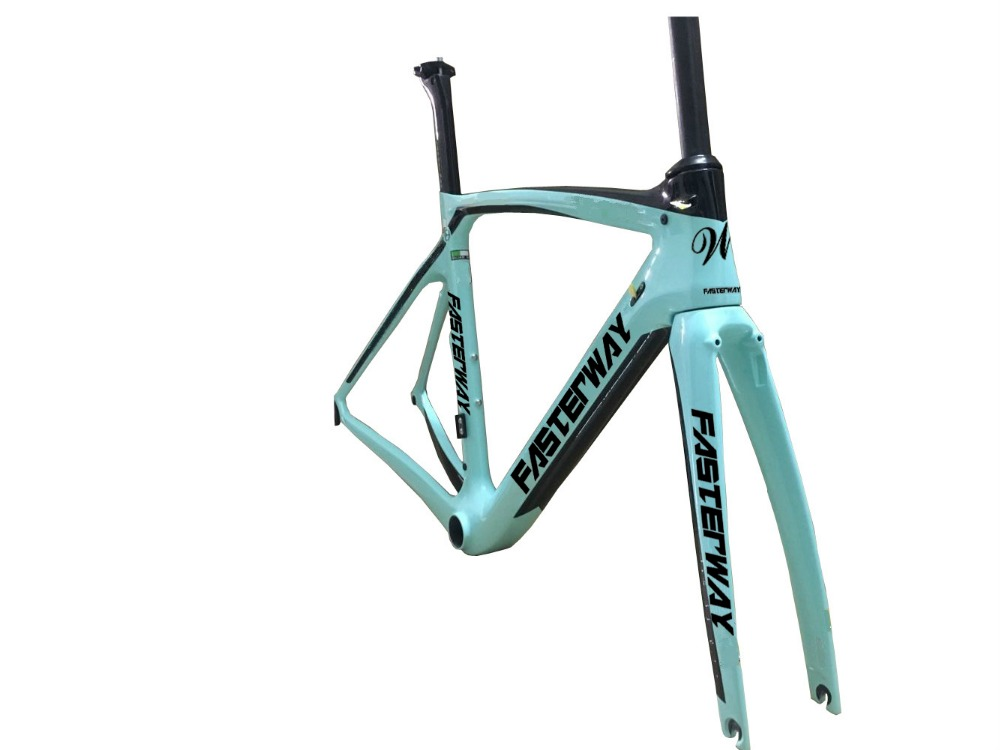 disc brake fasterway XR4 celeste blue with black carbon road frame bike frameset:carbon bike Frame+Seatpost+Fork+Clamp+Headset(China)