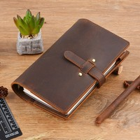 Moterm Vintage Genuine Leather Notebook Diary Travel Journal Planner Sketchbook Agenda DIY Refill Paper School Birthday