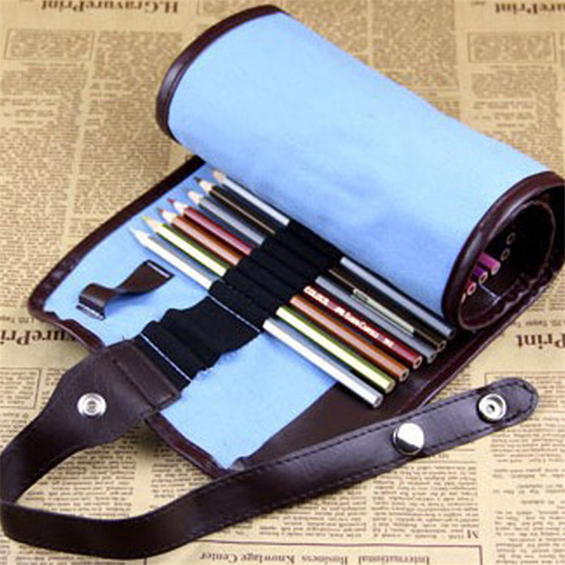 Finishing Canvas Leather Pencil Bag Pluggable Pens Storage Bag Sketch Colored Pencil Lead Volume High Capacity