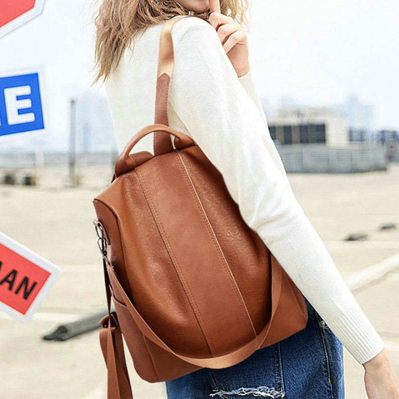 Beraghini Retro Women Leather Backpack College Preppy School Bag For Student Laptop Girls Ladies Daily Back Pack Shop Trip #5
