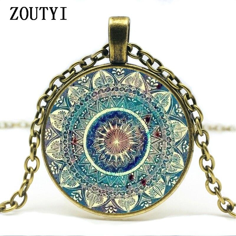 @1  Ожерелье винтажного буддийского чакра стеклянное круглое кулон  ювелирные изделия индийской йоги Ом  ①