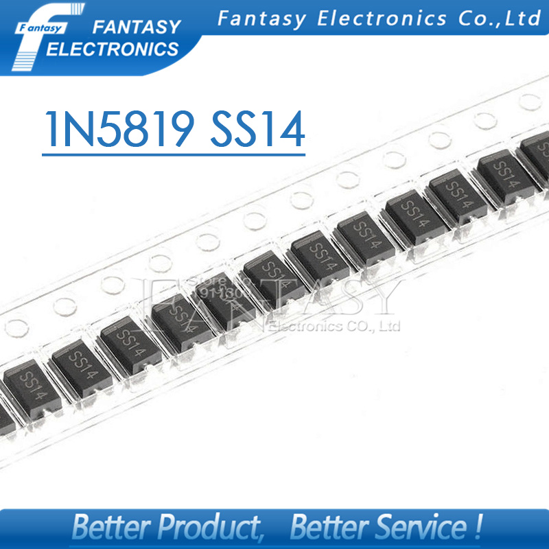 100pcs sma 1N5819 SMD IN5819 1A 40V do-214ac Schottky diode ss14 free shipping
