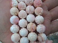 8 10 12mm full strand genuine pink conch shell handmade carved round ball jewelry beads