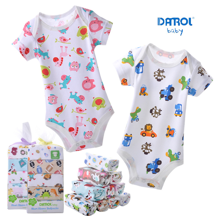 5Pcs Summer Baby Boy Jumpsuits Newborn 0-2Y Kids Short Sleeve Jumpsuits Baby Girl One-Pieces 100% Cotton Infant Climb Clothes