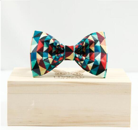 High Quality Men Wedding tie Handwork Plaid Butterfly tie Wooden bow tie Gift box