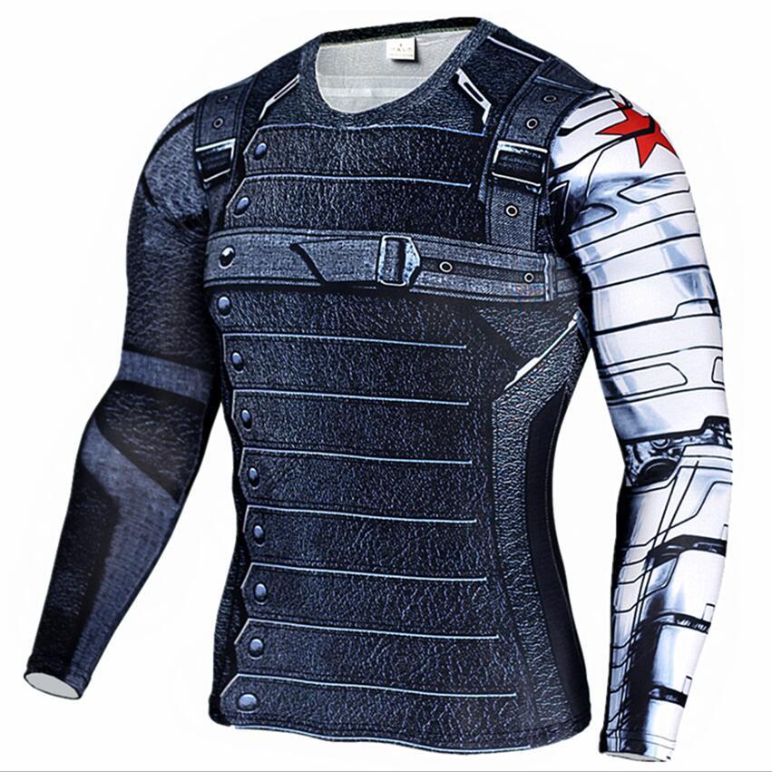 Camisa de compressão dos homens super-herói capitão américa homem de ferro 3d t camisa da marca roupas de fitness dos homens de manga longa camiseta