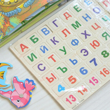 Children Wooden Magnetic Russian Alphabet Puzzle Russian Language Learning Educational Toy For Blackboard Paste Baby Funny Toy