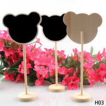 1Pcs Wedding supplies heart shape decor ornaments Chalkboard Blackboard wooden seats card Place holder Table Number Gifts(China)