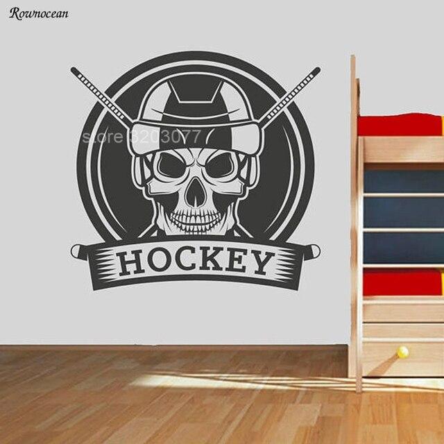 Retro Hockey Logo Skull Sport Wall Sticker Vinyl Home Decor For Kids