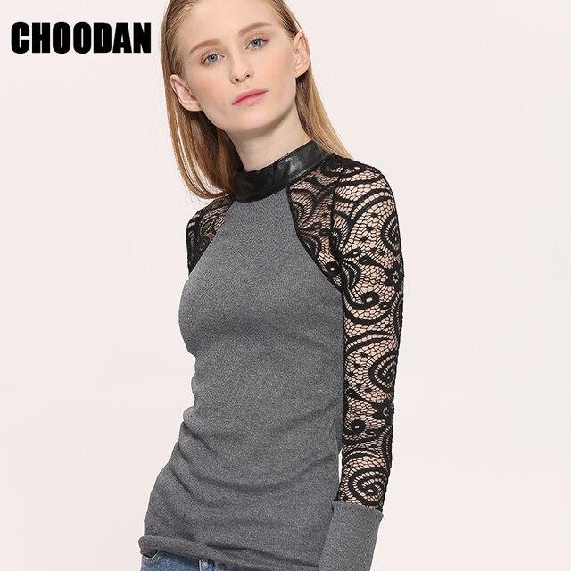 226c25902b Tecido Patchwork de Malha camisa blusa de Renda roupas femininas Outono  Inverno 2018 Nova Moda puff