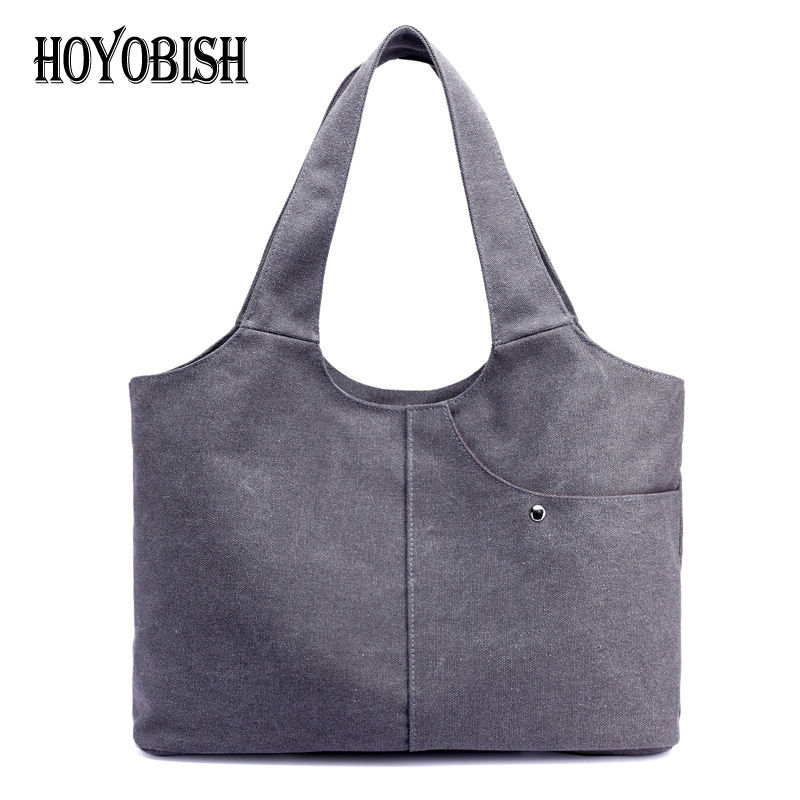 HOYOBISH Large Capacity Casual Women Canvas Bags Tote Bag High Quality European Style Ladies Shopper Bag Soft Shoulder Bag OH173 [whorse] brand high quality women genuine leather shoulder bags cowhide ladies casual tote bag large capacity wa5054 7
