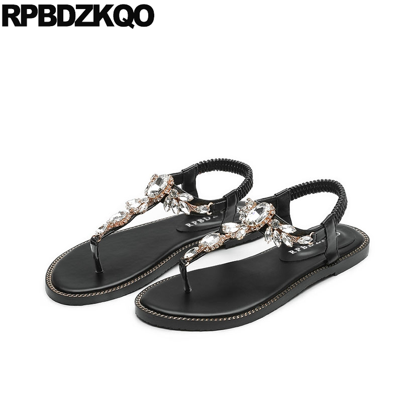 2de70f818187c0 Detail Feedback Questions about Black Beach Cheap Rhinestone Crystal  Diamond Thong Shoes Sandals Leisure Fashion Bohemia Style Women T Strap Flat  2018 Jewel ...