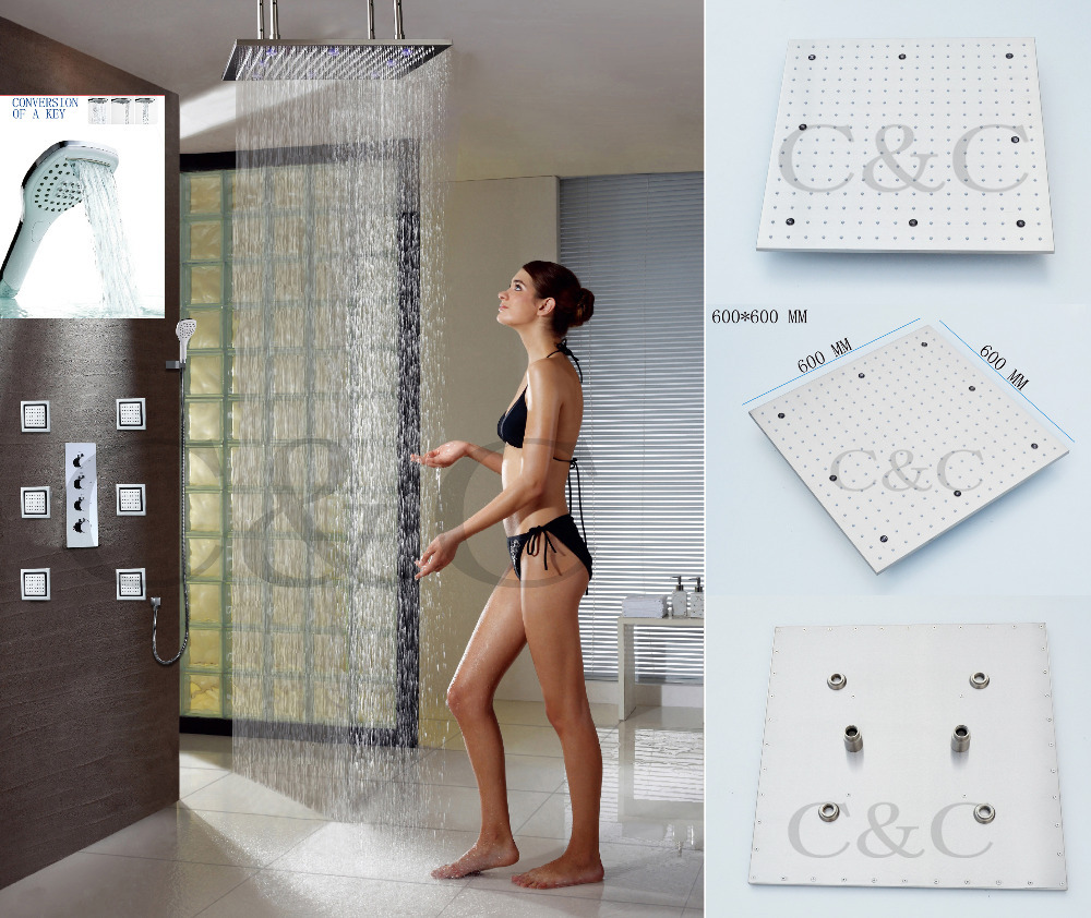 Large Water Flow Bathroom Shower Set 24 Inch Ceil Mounted LED Rainfall Electric Shower Head платье united colors of benetton цвет голубой 4ag65v8f4 902 размер l 46 48